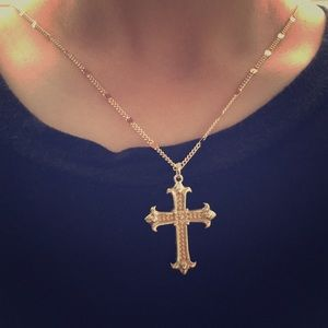 Fake golden cross necklace